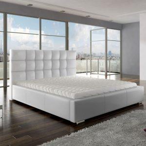 Białe łóżko z materacem stelażem i pojemnikiem ANETTE