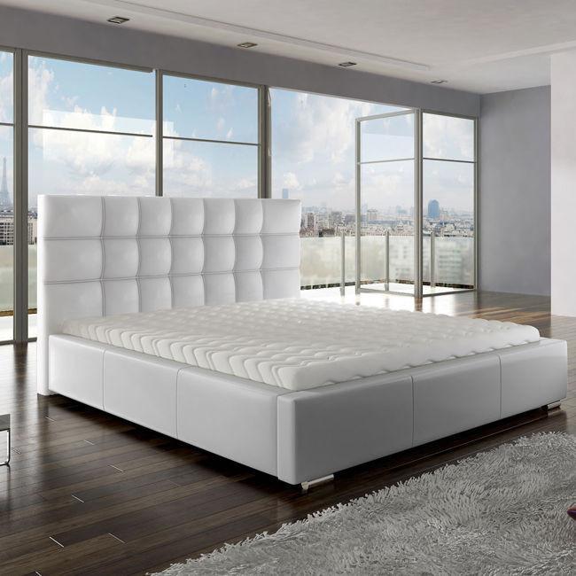 Białe łóżko Z Materacem Stelażem I Pojemnikiem Anette Dla Domu