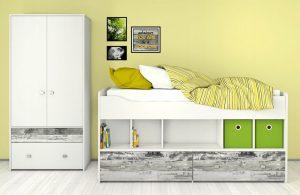 Białe łóżko młodzieżowe z szufladami COMBEE
