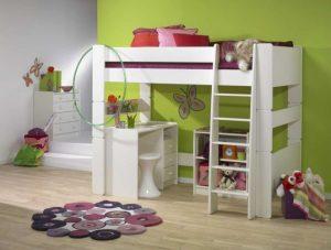 Łóżko piętrowe z biurkiem dla dzieci białe