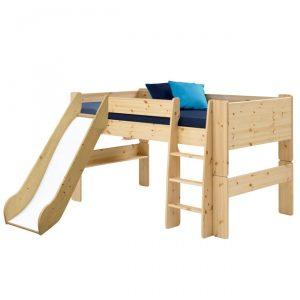 Łóżko piętrowe ze zjeżdżalnią i drabinką niskie