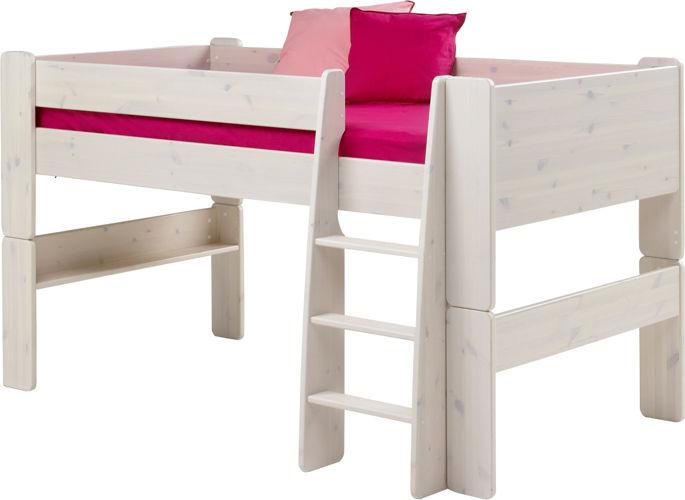 Niskie łóżko piętrowe dla dzieci sosna biel.