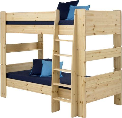 Sosnowe łóżko piętrowe podwójne - sosna lakierowana