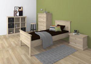 Romantyczne łóżko 90×200 dąb sonoma PARIS