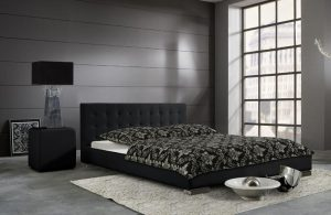 SARA łóżko tapicerowane 160 cm – czarny