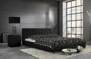 Czarne łóżko tapicerowane SARA 140 cm