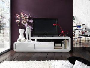 ACELIA biała szafka RTV na wysoki połysk – biały