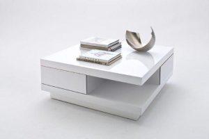 Biały nowoczesny kwadratowy stolik kawowy Avante