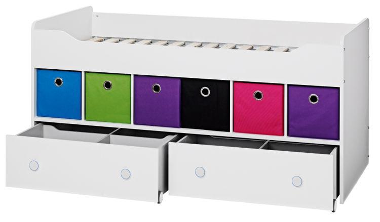 Łóżko z szufladami i kolorowymi pudełkami COMBEE