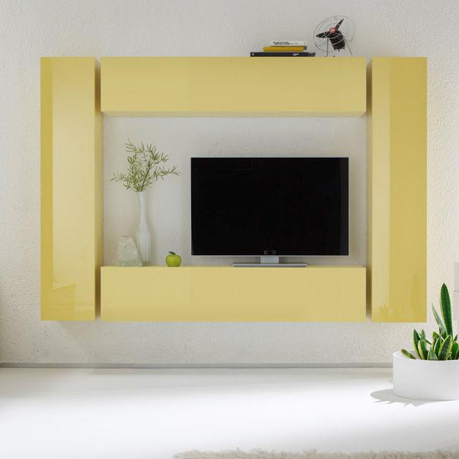 Żółta meblościanka wysoki połysk DROPS 10