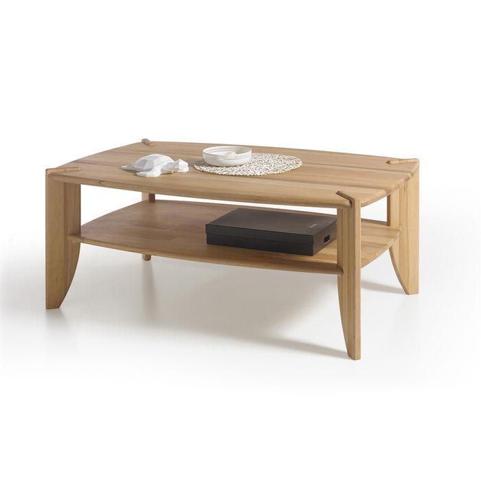 Drewniany stolik ława z półką Emma bukowy