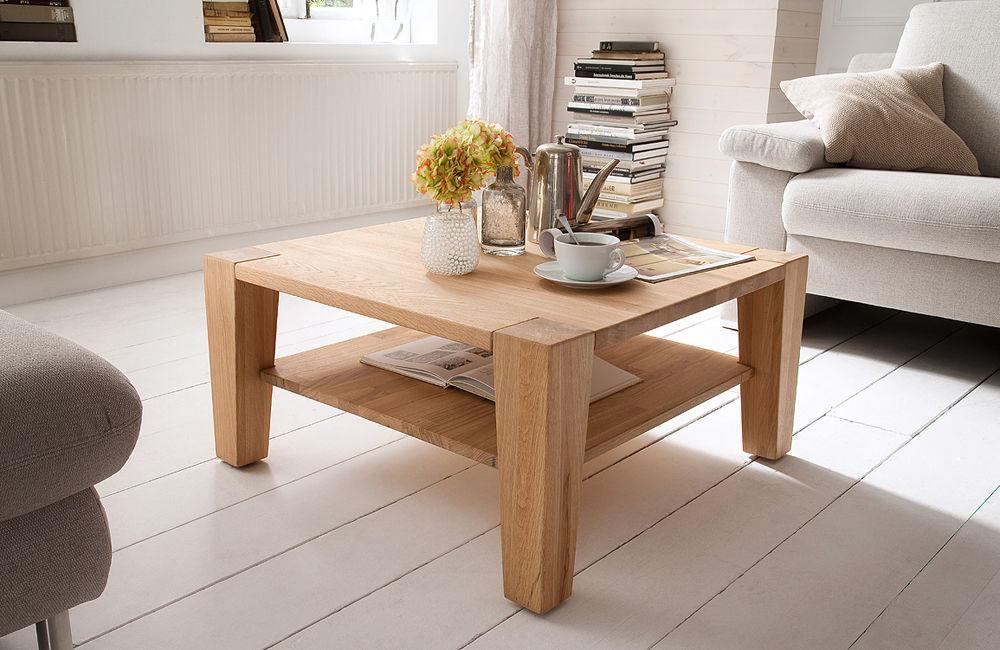 Drewniany stolik kawowy z półką Hana 80x80 cm