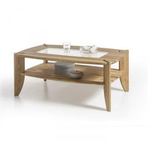 Drewniany prostokątny stolik kawowy z szybą Milo dębowy