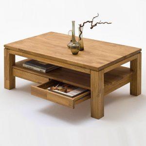 Dębowy stolik kawowy z dwoma szufladami Ramzej