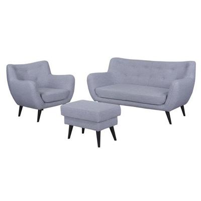 Sofa fotel podnóżek szary zestaw SAVORA