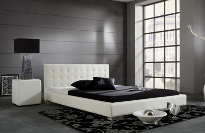 SARA łóżko tapicerowane 180 cm – biały \ 180 cm