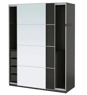 Czarna szafa przesuwna z lustrem i szufladami Pax Ikea
