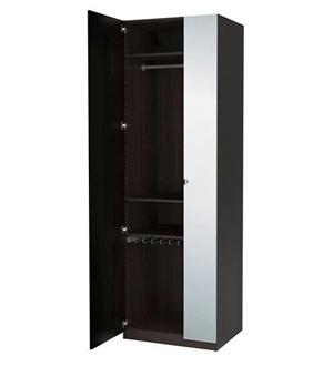 Pojedyncza szafa czarna z lustrem Pax Ikea