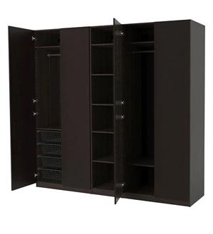 Czarna szafa czterodrzwiowa z półkami Pax Ikea