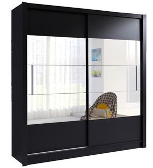 Roma szafa 2-drzwiowa 180 cm Czarna z lustrem