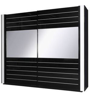 Linn szafa przesuwna 2-drzwiowa 250cm Czarna z lustrem