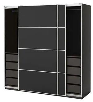 Czarna szafa przesuwna z szufladami Pax Ikea