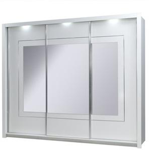 Panarea szafa 3-drzwiowa 200 cm Biała z lustrem