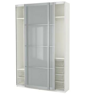 Szafa przesuwna z przezroczystymi drzwiami Pax Ikea