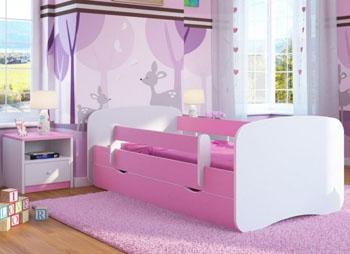 Łóżko dziecięce BabyDreams biało różowe 160/80
