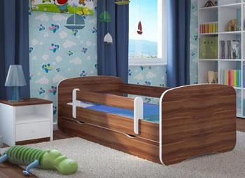 Łóżko dziecięce BabyDreams z barierką 160X80 wenge