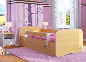 Łóżko dziecięce BabyDreams z barierką 160X80 buk