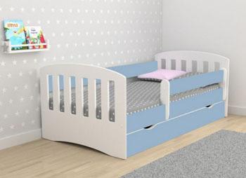 Łóżko dziecięce classic z materacem biało niebieskie 160/80