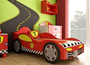 Łóżko samochód dla chłopca czerwona wyścigówka
