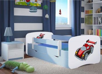 Łóżko dziecięce BabyDreams biało niebieskie 180/80