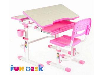 Dziecięce biurko regulowane plus krzesło Lavoro różowe