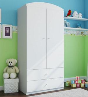 Biała szafa dla dziecka dwudrzwiowa BabyDreams