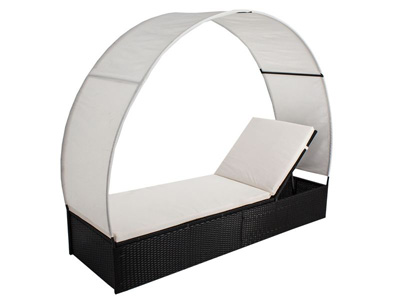 Leżak na taras lub do ogrodu Summer Sun rattan czarny