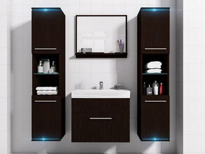 Łazienka z oświetleniem led - meble łazienkowe DUO 1 ciemne