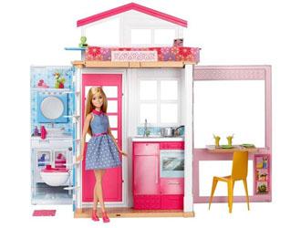 Barbie Dwupoziomowy Domek z mebelkami + lalka