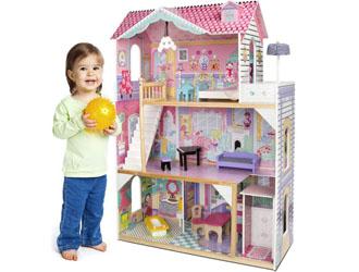 Duży Domek dla lalek drewniany Rezydencja + 4 laleczki