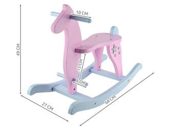 Koń na biegunach drewniany - różowy