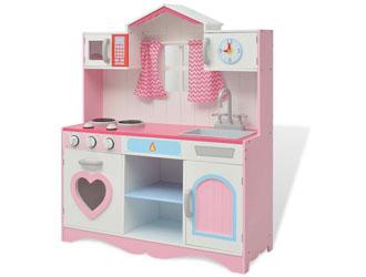 Zabawkowa kuchnia dla dziewczynki drewniana, różowo-biała