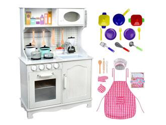 4w1 Kuchnia drewniana dla dzieci + oświetlenie garnki