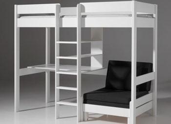 Łóżko piętrowe drewniane dziecięce młodzieżowe Pino Sofabed - biała