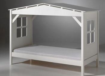 Białe łóżko dziecięce domek pojedyncze Pino