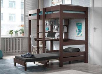 Łóżko piętrowe drewniane dziecięce młodzieżowe Pino Sofabed – brąz