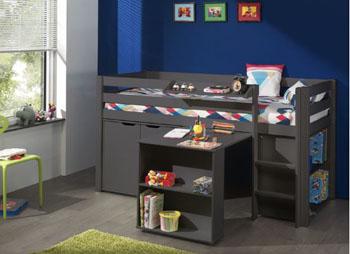 Zestaw – Łóżko piętrowe z biurkiem dla dzieci Pino – brąz