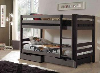 Drewniane łóżko dla dzieci i młodzieży piętrowe Pino – sosna ciemnoszara