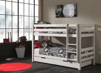 Drewniane białe łóżko dziecięce i młodzieżowe piętrowe Pino