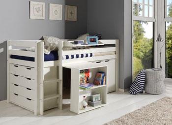 Zestaw – Łóżko piętrowe z biurkiem dla dzieci Pino – białe